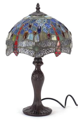 Tiffany design table lamp with dragonfly...