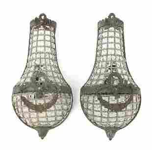 Pair of ornate gilt metal chandelier des...