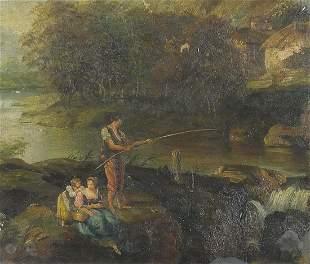 Figures fishing beside a river, English ...