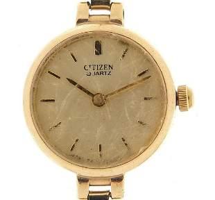 Citizen, ladies 9ct gold quartz wristwat...