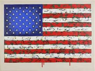 Manner of Jasper Johns - American flag, ...