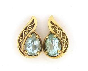 Pair of 9ct gold blue stone tear drop st...
