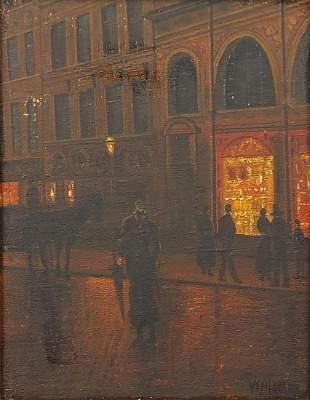 Victorian style street scene with figure...