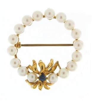 9ct gold pearl and sapphire brooch, 3cm ...