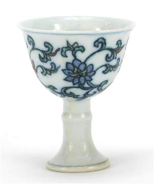 Chinese doucai porcelain stem cup hand p...