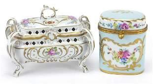 Limoges porcelain pot and a Continental ...