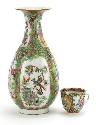 Chinese Canton porcelain vase and cup, e...