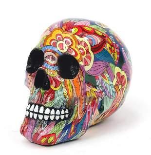 Marbleised model of a human skull, 16cm ...