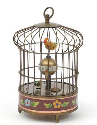 Brass and cloisonne clockwork automaton ...