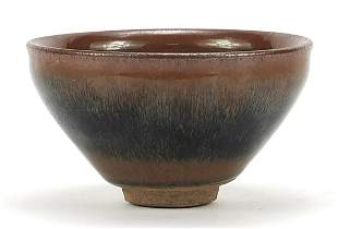 Chinese hare's fur pottery bowl, 13cm in...