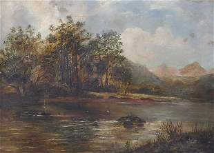 River landscape before trees and mountai...