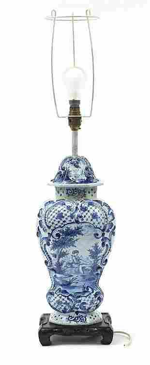 Large Delft baluster vase table lamp han...
