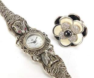 Ladies silver marcasite leopard design w...