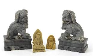 Chinese stone carvings including a pair ...