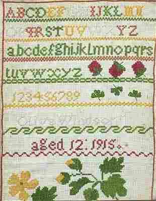 Vintage alphabet sampler by Olive Windso...