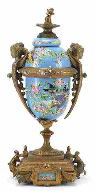 19th century style gilt metal and porcel...
