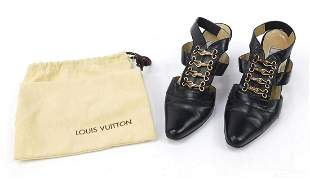 Pair of Gianni Versace black leather hig...