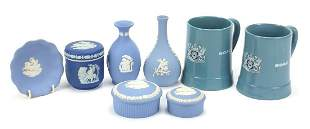 Selection of Wedgwood blue and white Jas...