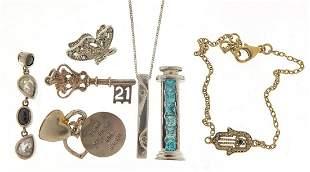 Silver jewellery including a diamond lov...
