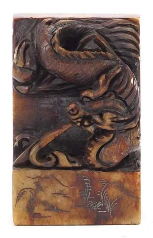 Chinese carved soapstone dragon and moun...