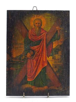 Rectangular Greek Orthodox icon of St An...