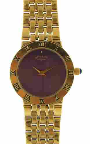 Rotary, ladies gold plated quartz wristw...