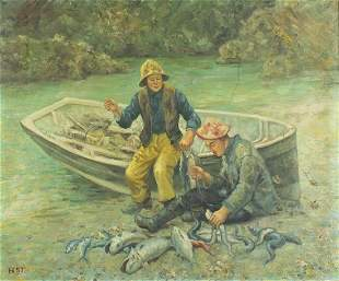 Manner of Henry Scott Tuke - Two young f...