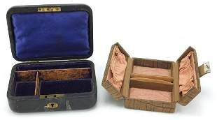Two vintage jewellery boxes, the largest...
