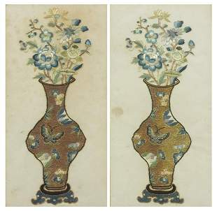 Pair of Chinese silk embroideries on ric...