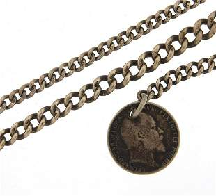 Two silver watch chains, one with 1906 s...