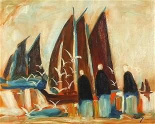 Figures before sailing boats, Irish scho...