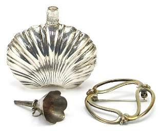 Miniature silver coloured metal scent bo...