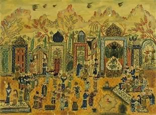 Figures praying, Islamic watercolour and...