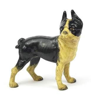 Painted cast iron French Bulldog, 25cm h...