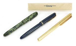 Three fountain pens including green marb...