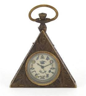 Masonic interest triangular pocket watch...