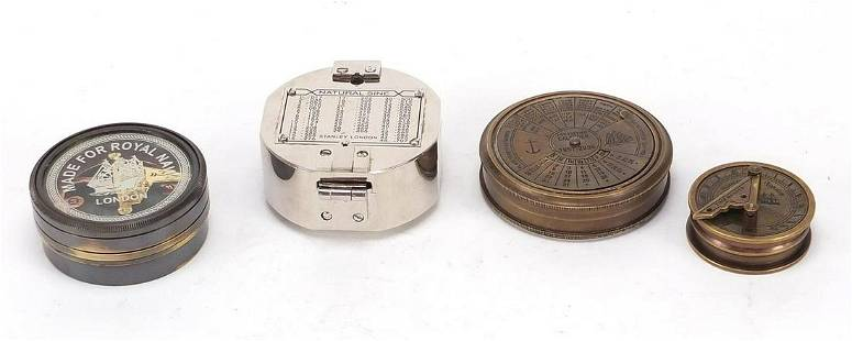 Four naval interest sextants and compass...
