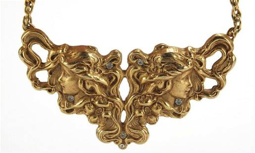 Art Nouveau design gilt metal maiden hea...