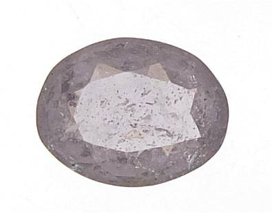 Oval grey spinel gemstone with certifica...