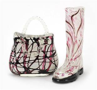 Laguna art glass boot and a handbag, the...