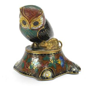 Chinese owl design cloisonne pot with co...