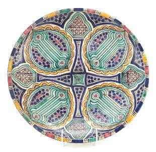 Large Persian pottery charger hand paint...