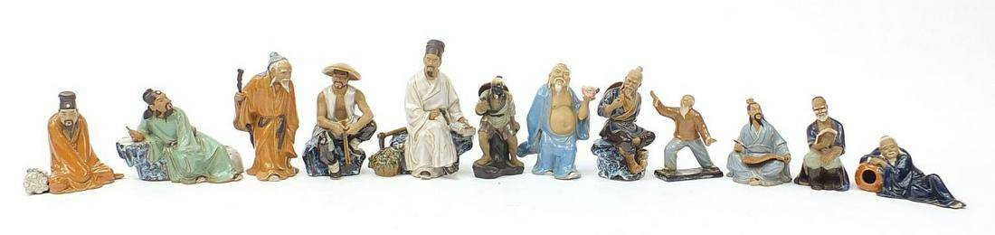 Collection of Chinese mud men figures, t...