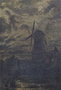 Water before a windmill, 19th century No...