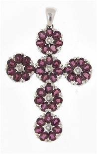 Large silver cross pendant set with purp...
