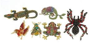 Seven jewelled and enamel animal and ins...