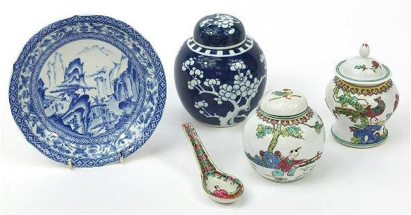 Chinese porcelain including a blue and w...