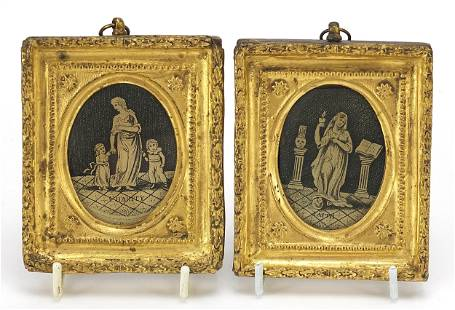 Faith and Charity, pair of antique black...