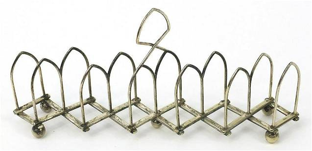 Silver plated concertina toast rack numb...