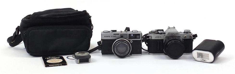 Canon AE-1 camera and Olympus-35 SP came...